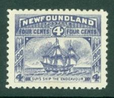 Newfoundland: 1910   Ship - Endeavour    SG98     4c     MH - 1908-1947