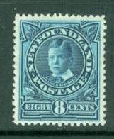 Newfoundland: 1911/16   Prince George   SG123     8c  Aniline Blue    MH - Newfoundland