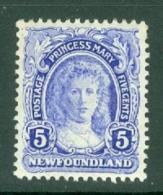 Newfoundland: 1911/16   Princess Mary   SG121     5c      MH - 1908-1947