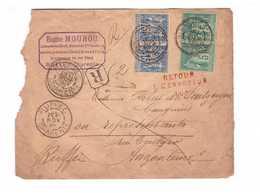 Lettre 1892 Avec Cachet Rouge Retour à L' Envoyeur 105 Angouleme Ruffec Charente 4 Timbres Type Sage N°75 Et 90 - Marcophilie (Lettres)