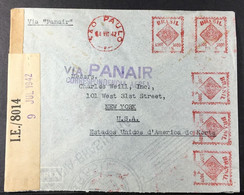 Circulated Cover - Meter Stamp - WWII Censorship - Panair - Brazil To USA - 1942 - Brazil