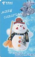 TARJETA TELEFONICA DE CHINA USADA. Merry Christmas - 1/4. MY-JLT-2002-13- (4-3). (230) - Navidad