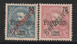 ST THOMAS & PRINCE - N°248/9 Nsg (1920) Carlos 1er - Surcharge Republica / Provisorio - St. Thomas & Prince