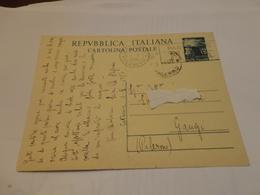 CARTOLINA POSTALE LIRE 15 CON ANNULLO PANETTONE MOTTA-1950 - 6. 1946-.. Repubblica