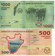 BURUNDI    500/1'000 Francs  Dated 15.01.2015  P50/51     2 Notes - Burundi