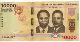 BURUNDI    10'000 Francs  Dated 15.01.2015  P54 - Burundi