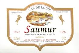 Ancienne Étiquette A3 VIN SAUMUR 1992 VAL DE LOIRE - Other