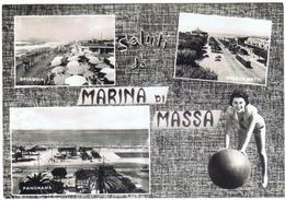 CARTOLINA - CV741 MARINA DI MASSA (Massa Carrara MS) Saluti Da Con 3 Vedutine, FG, Viaggiata 1958, Ottime Condizioni - Massa