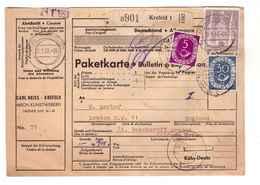 Allemagne 1953 Paketkarte Bulletin à Expédition Deutschland Cachet Krefeld 2dm 30pf 5pf Pour Londres London England - BRD