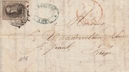COB N° 6 Sur Pli De Huy (P 62)  Vers Liège - 4 Marges - Facture Papeterie N. Rouchet - 1851-1857 Médaillons (6/8)