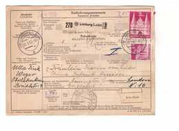 Allemagne 1953 Paketkarte Bulletin à Expédition Deutschland Cachet Limburg Lahn Koln Mit 3dm 80pf - BRD