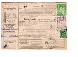 Allemagne 1953 Paketkarte Bulletin à Expédition Deutschland Cachet  Coburg Koln Mit 2dm 1dm 10pf Porzellanfabrik - BRD