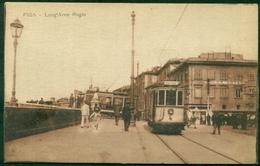 CARTOLINA - CV1951 PISA (PI) Lung'Arno Regio, Con Tram E Bella Animazione, FP,  Non Viaggiata, Ottime Condizioni - Pisa