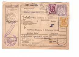 Allemagne 1953 Paketkarte Bulletin à Expédition Deutschland Cachet Hamburg Wilhelmsburg Mit 2dm 70pf 40pf Haltermann & C - BRD
