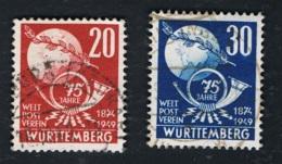 1949  4. Okt. Würtemberg 75 J. UPU Mi 51 - 52  Yt 51 - 52 Sg DE-FW 52 - 53 AFA DE-FWH 53 - 54  Gestempelt O - Französische Zone