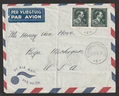 Luchtpostbrief Met 696 In Paar Van AGENCE ST. ANDRIES-BIJ-BRUGGE (sterstempel) Naar USA - Marcophilie