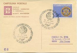 ITALIA - CARTOLINA POSTALE A CURA DEL CIRCOLO FILATELICO TORRICELLI DI FAENZA 1971 - ROTARY CLUB - VIAREGGIO - 6. 1946-.. Repubblica