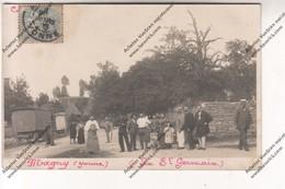 Exceptionnelle Carte Photo MAGNY (89) : Villageois - Fête De La St Germain (Roulotte Forain Et Manège Bateaux à Bascule) - France