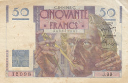 Billet 50 F Le Verrier Du 8-4-1948 FAY 20.10  Alph. J.99 - 1871-1952 Circulated During XXth