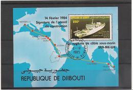 DJIBOUTI Année 1985 Inauguration Système Cable Sous-marin N° Y/T : Bloc N° 3  Oblitéré - Djibouti (1977-...)