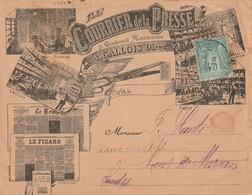 Type SAGE 5c De Paris Vers Mont De Marsan Sur ENV ILLUSTREE COURRIER DE LA PRESSE EXPOSITION UNIVERSELLE - Marcophilie (Lettres)
