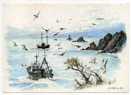 PLOGOFF--La Pointe Du Raz D'après Aquarelle De Robert Lépine (bateaux De Pêche,oiseaux ,phare)--carte Toilée - Plogoff