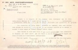 3-0672     1943      FACTURE PHOTOMECANIQUES A PARIS - M.GAREL A LA BOURMOULE - France