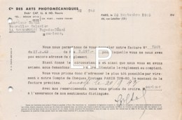 3-0673    1943       FACTURE PHOTOMECANIQUES A PARIS - M.GAREL A LA BOURMOULE - France