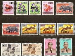 Republiek Congo 1964 Ocbn°  532-544 *** MNH Cote 20 Euro Faune Flore Surchargé - République Du Congo (1960-64)