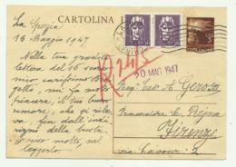 CARTOLINA POSTALE LIRE 2 CON AGGIUNTA 2 DA CENT. 50- 1947 FG - Usati