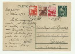 CARTOLINA POSTALE LIRE 2  CON AGGIUNTA DI LIRE 4, LIRE 1,20 E 80 CENT. - 1947  FG - Usati
