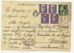 CARTOLINA POSTALE LIRE 2  CON AGGIUNTA DI QUARTINA CENT. 50 - 1947  FG - Usati