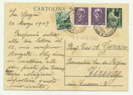 CARTOLINA POSTALE LIRE 2 CON AGGIUNTA DI 1 LIRA E 2 DA 50. CENT. 1947 FG - 5. 1944-46 Luogotenenza & Umberto II