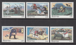 2002 Tajikistan Sports Archery Horses Wrestling  Complete Set Of 6 MNH - Tadjikistan