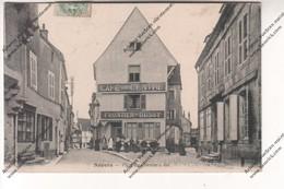 CPA NOYERS (89) : Place Du Grenier à Sel (café Du Centre FRONTIER BUSSY) (envoyée à Avallon) Marquage Postale B - Noyers Sur Serein