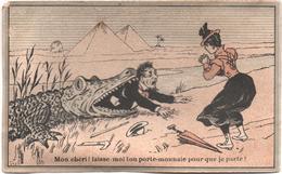 Chromo, Victorian Trade Card. Le Crocodile Du Nil Dévore Un Touriste. Coccodrillo Del Nilo Divora Un Turista. - Autres