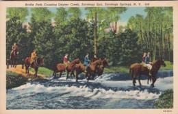 New York Saratoga Springs Horseback Riders Bridle Path Crossing Geyser Creek Saratoga Spa Curteich - Saratoga Springs