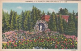 New York Saratoga Springs The Grotto At St Clement's Curteich - Saratoga Springs