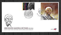 2018 Gemeinschaftsausgabe Süd-Afrika-Deutschland: DOPPELT FDC MIT BLOCK+MARKE: Nelson Mandela - Emisiones Comunes