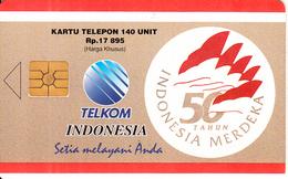 INDONESIA(chip) - 50 Tahun Indonesia Merdeka, Telkom Telecard 140 Units, CN : JFYZ(thick), Tirage 85000, 09/96, Used - Indonesia