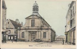 D45 - GIEN - PLACE ET EGLISE SAINT LOUIS - Carte Colorisée - Calèche Avec Un Cheval Blanc - Chiens - Gien