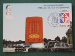 France 1990 Maxicard Paris - 18 Juin Call From London - Radio - General De Gaulle - Francia