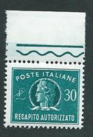 Italia 1965/90; Recapito Autorizzato Da Lire 30, Bordo Superiore. - 1961-70: Mint/hinged