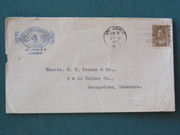 Canada 1919 Cover St. John To Georgetown Demerara Guyana - Brushes Logo - War Saving Bonds Cancel - B. Guiana Cancel On - 1911-1935 Règne De George V