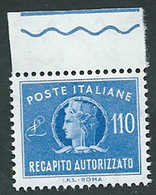 Italia 1965/90; Recapito Autorizzato Da Lire 110, Bordo Superiore. - 1961-70: Mint/hinged