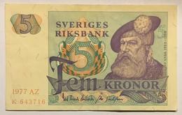 Sveriges Riksbank - Fem Kronor - 1977 - Suède