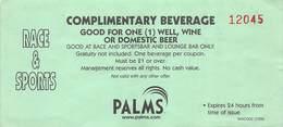 Palms Casino Las Vegas, NV - Complimentary Beverage Coupon - Advertising