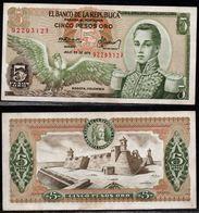 COLOMBIA - 1975 - CINCO PESOS ORO ( $ 5 ) - UNCIRCULATED. CONDITION 9/10 - Colombie