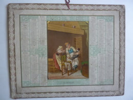 ALMANACH - CALENDRIER  1870 DECOUPI CHROMO   Allegorie Familiale -La  Boullie   Fév 2019 Alb 7 - Documentos Históricos