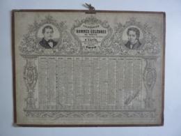 ALMANACH - CALENDRIER  1876  Lithographie  DES HOMMES CELEBRES DE TROYES  Publié Par E. CAFFE  Imp.    Fév 2019 Alb 7 - Calendriers